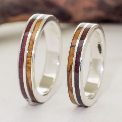 Ring sets Set silver rings made with olive wood and purple heart 280,00 € Viademonte Jewelry