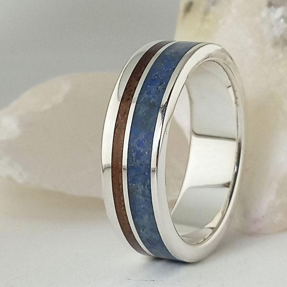Anillos con Arena Anillos con madera y lapislazuli - Alianzas de boda 170,00€ Viademonte Jewelry