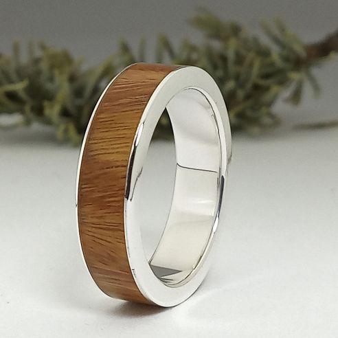 Silver wood rings Wooden silver band - Original design jewelry - Lignum vitae wood 150,00€ Viademonte Jewelry