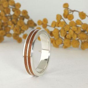 Silver wood rings Original wedding rings - Silver ring with juniper wood 160,00€ Viademonte Jewelry