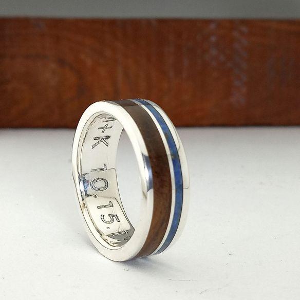 Anillos con Arena Anillo original con madera y lapislazuli - Alianzas de boda 170,00€ Viademonte Jewelry