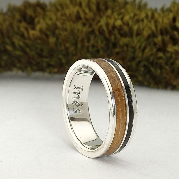 Silver wood rings Oak and ebony silver ring - New jewelry 160,00€ Viademonte Jewelry