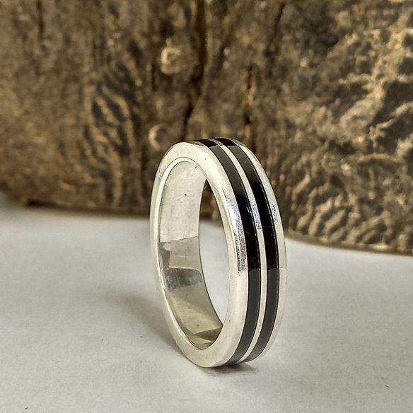 Silver wood rings Original wooden silver band - Ebony wood 160,00€ Viademonte Jewelry