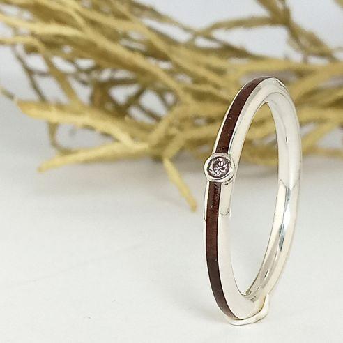 Gemstone Wooden rings Silver ring, diamond and walnut wood 180,00€ Viademonte Jewelry