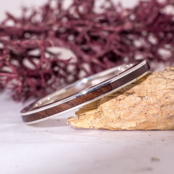 Stackable rings Walnut wood silver ring 120,00€ Viademonte Jewelry