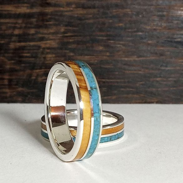 Ring sets Set handmade silver ring - Olive and turquoise 310,00€ Viademonte Jewelry