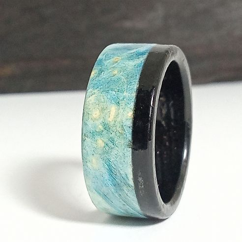 Wooden rings Blue birch wood and ebony ring