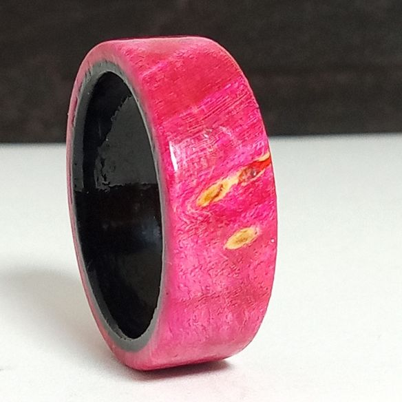 Wooden rings Pink birch wood and ebony ring