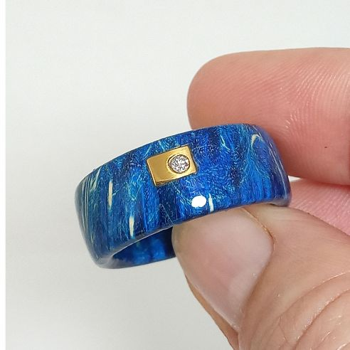 Wooden rings Blue birch wood, diamond and gold ring