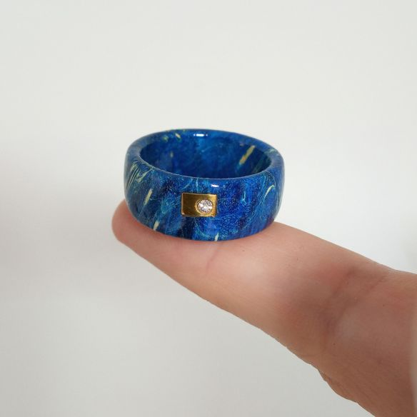 Anillos solo madera Anillo de Abedul azul con diamante y oro