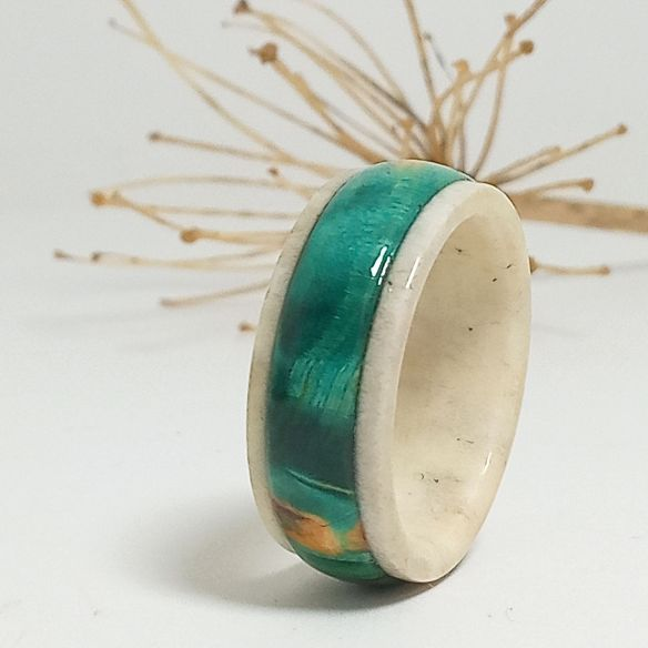 Wooden rings Green birch wood and Deer antler ring