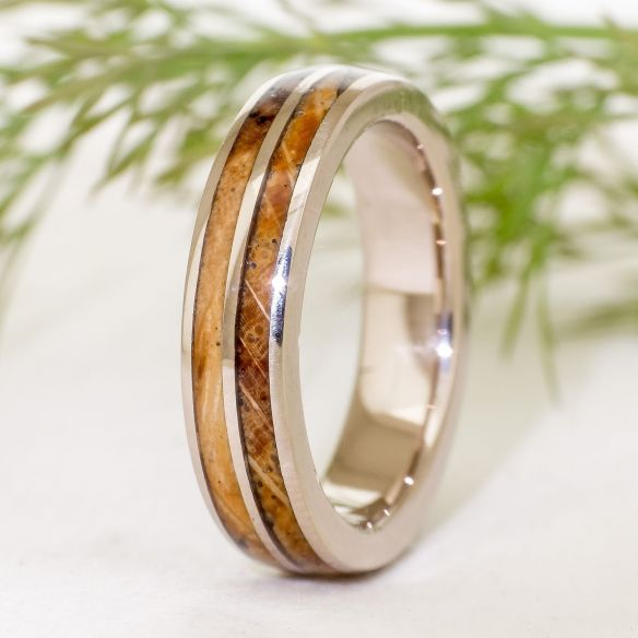 Gold wood rings White gold wedding band - Spalted oak 513,00€ Viademonte Jewelry