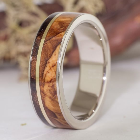 Gold wood rings White gold wedding band made with olive and walnut wood 925,00 € Viademonte Jewelry