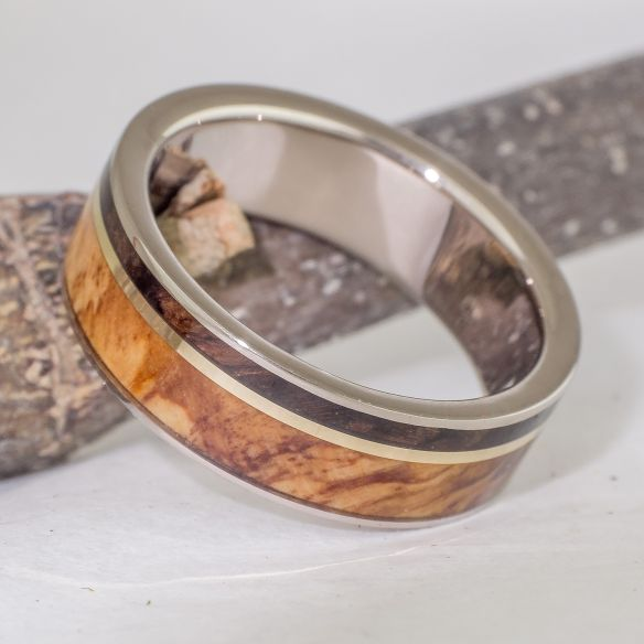 Gold wood rings White gold wedding band made with olive and walnut wood 690,00€ Viademonte Jewelry