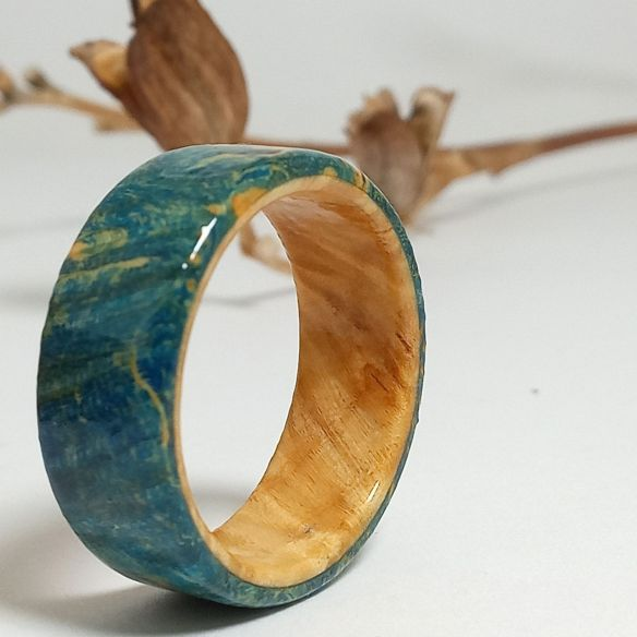 Wooden rings Blue birch wood and natural birch ring