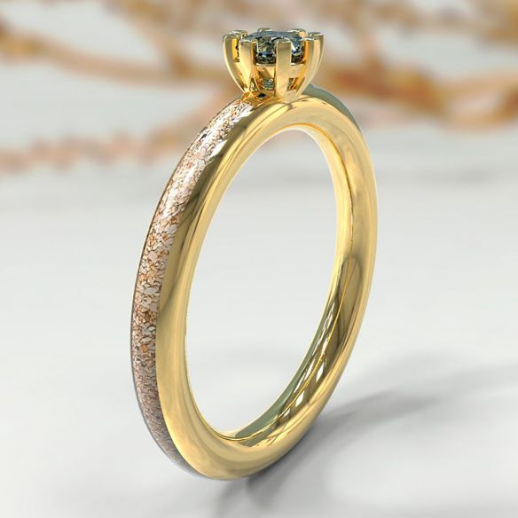 Gemstone Wooden rings Yellow gold, sand and skyblue topaz wedding rings 490,00€ Viademonte Jewelry