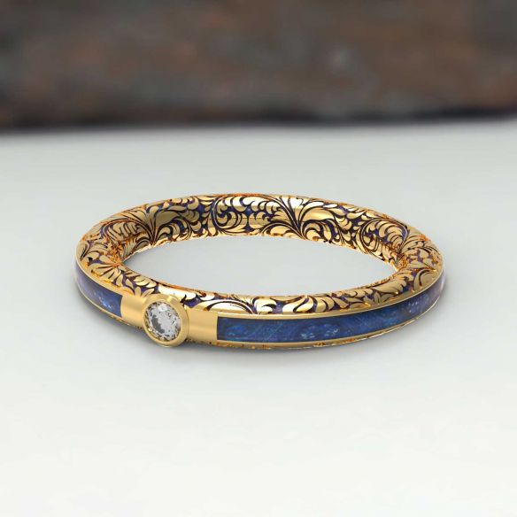 Gemstone Wooden rings Gold and blue birch wood ring carved with diamond 475,00€ Viademonte Jewelry