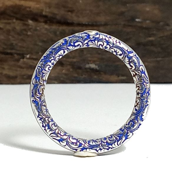 Gemstone Wooden rings Silver ring carved with diamond and blue wood 200,00€ Viademonte Jewelry