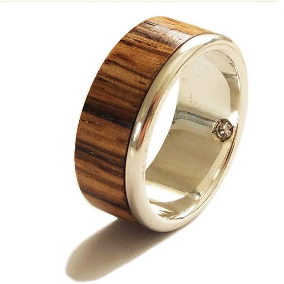 Gemstone Wooden rings Zebrano wood diamond sterling silver ring 220,00€ Viademonte Jewelry