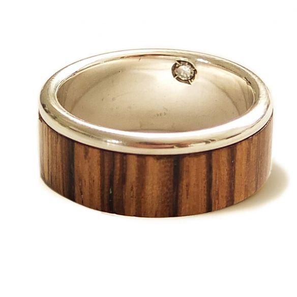 Ringe mit Edelsteinen Sterling Silber, Zebrano und Diamantring € 220.00 Viademonte Jewelry