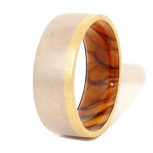 Alianzas con madera y oro Anillo de oro y plata de ley y madera de olivo en el interior 270,00€ Viademonte Jewelry