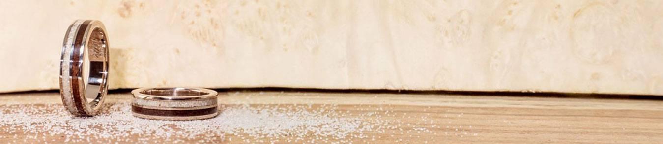 Anells amb sorra - Joieria de noces personalitzada - Joieria memorial