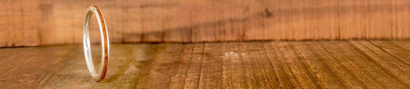Anneaux de mariage fins - Bijoux créatifs et différents en bois